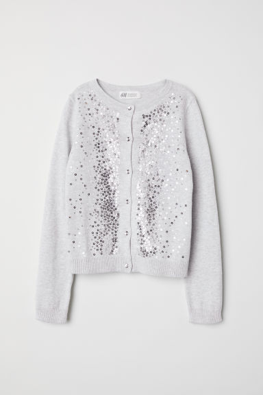 Cardigan with sequins - Light grey/Silver-coloured - Kids | H&M