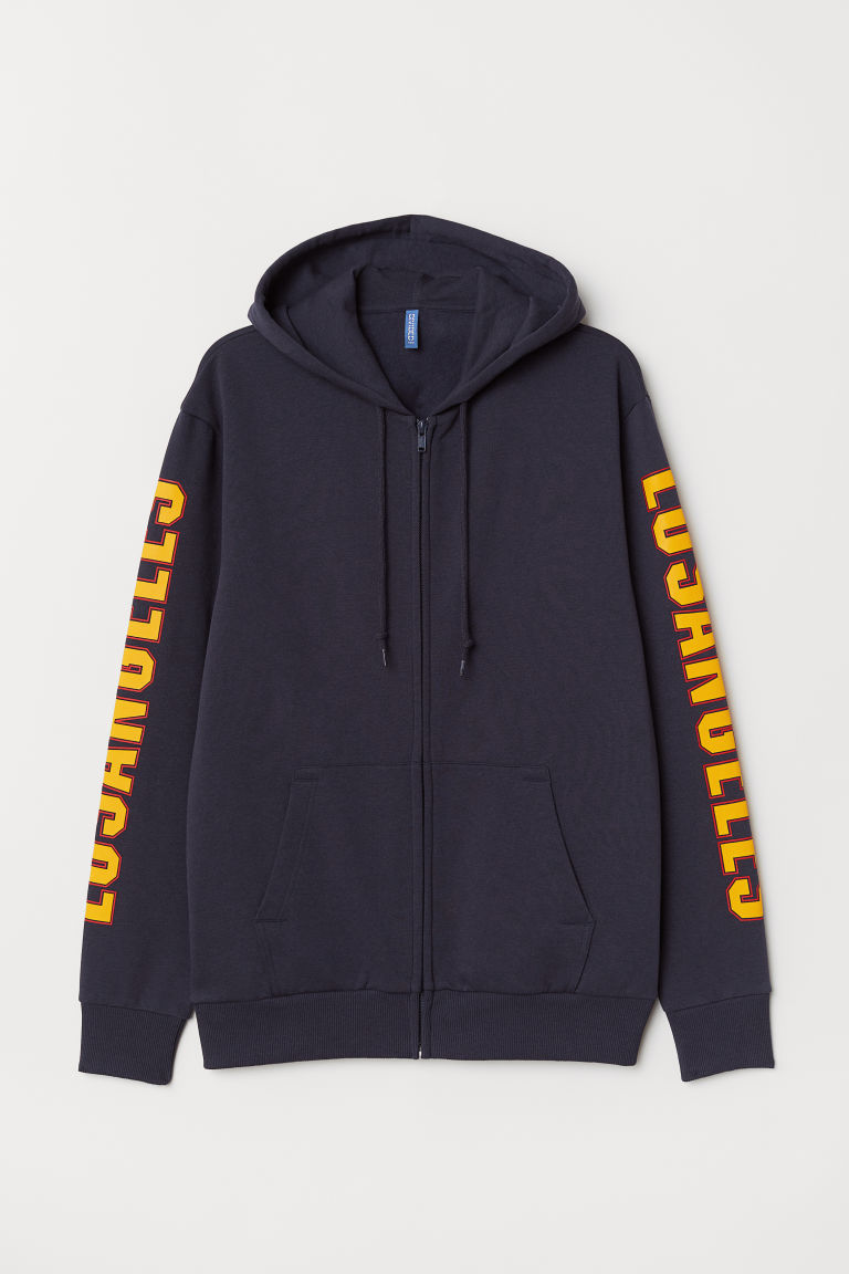 Printed hooded jacket - Dark blue/Los Angeles - Men | H&M CN