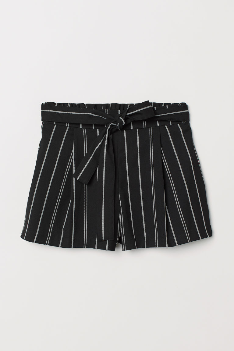 Shorts with Tie Belt - Black/white striped -  | H&M US