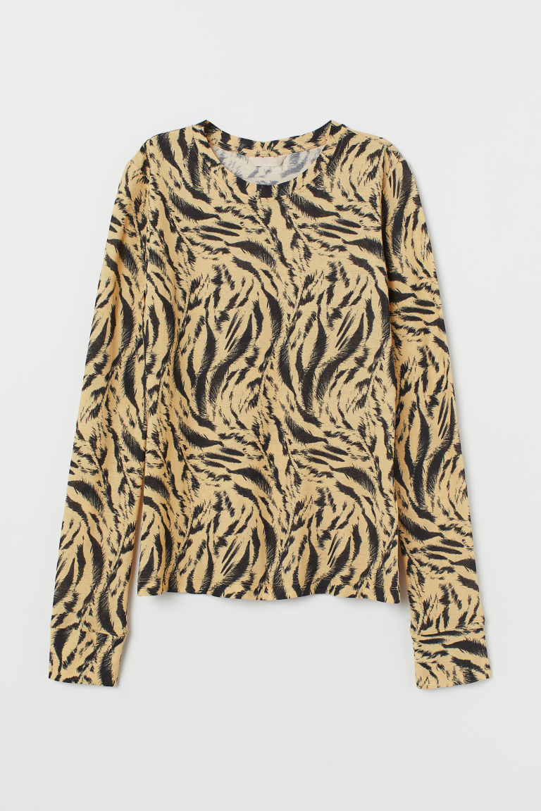 Patterned Jersey Top - Yellow/tiger-striped - Ladies | H&M US