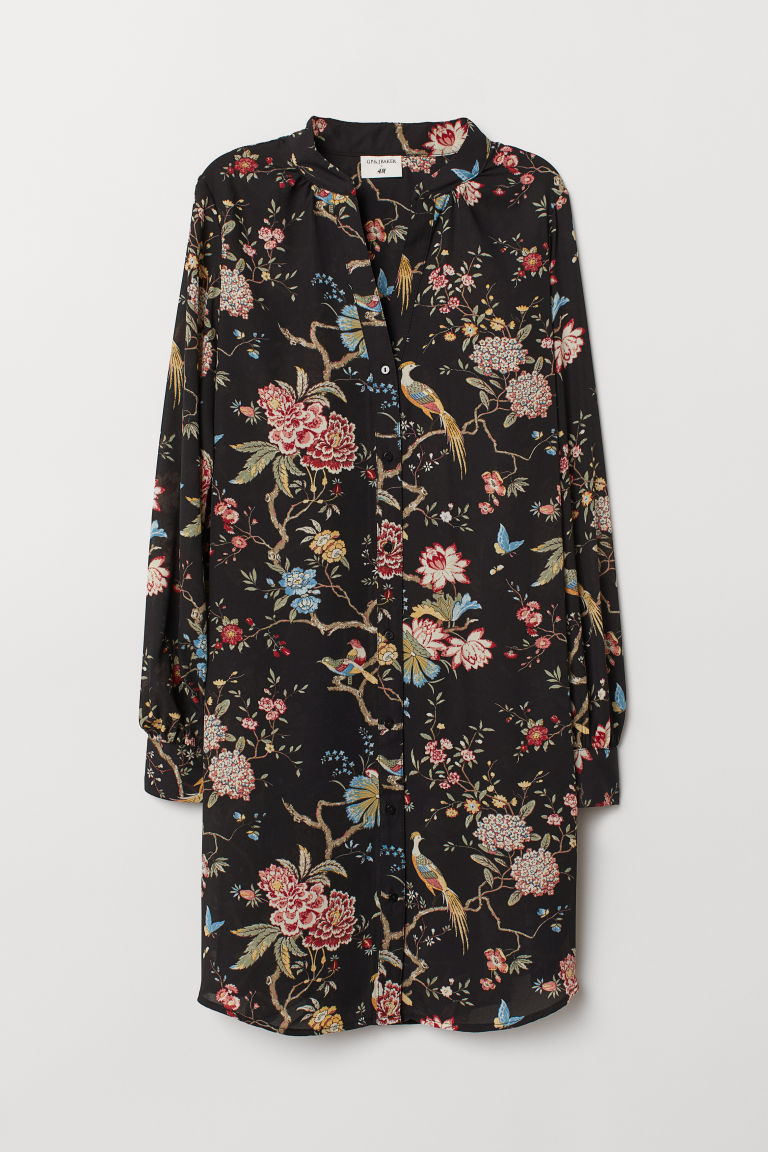 Patterned dress - Black/Floral - Ladies | H&M GB