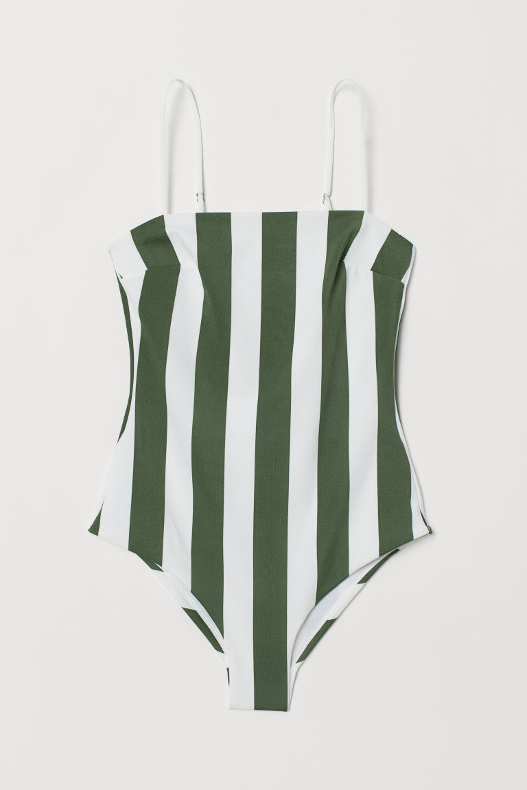 Swimsuit - Dark green/white striped - Ladies | H&M CA