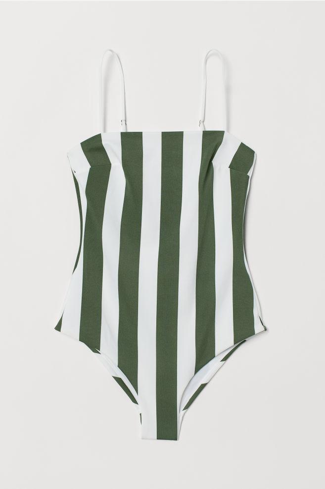 9fdfae90 ... Badedrakt - Mørk grønn/Hvit stripet - DAME | H&M ...