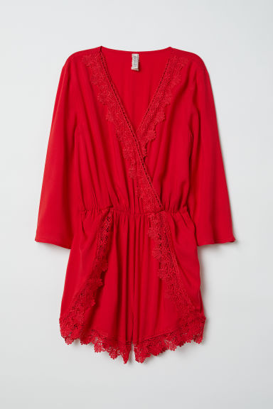 Playsuit with lace - Red -  | H&M CN