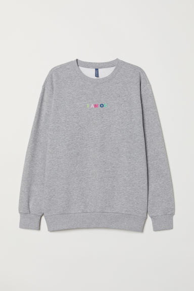 Sweatshirt with a motif - Light grey marl/I am OK - Men | H&M