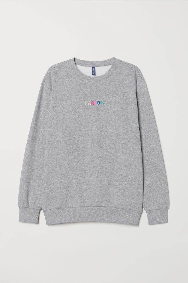 Sweatshirt with Motif - Light gray melange I am OK - Men  6372684afbb