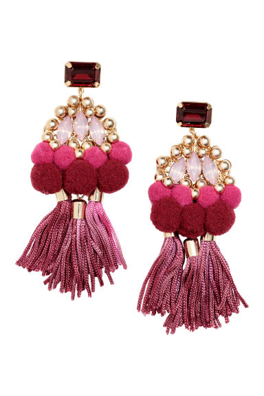 Tasselled earrings - Pink/Ruby-coloured -  | H&M CN
