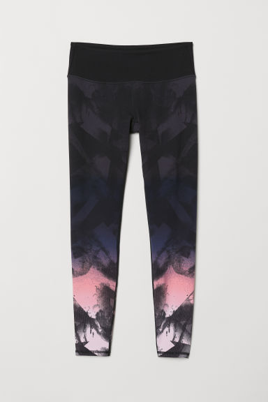 Yoga tights Shaping Waist - Black/Pink patterned - Ladies | H&M