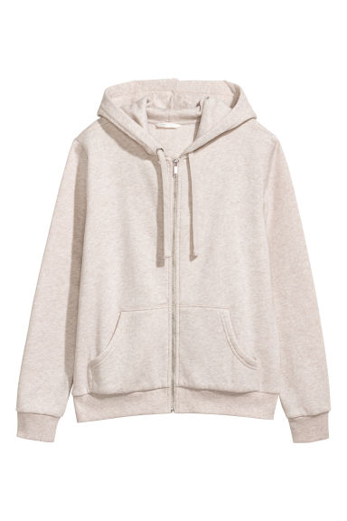 Hooded jacket - Beige marl -  | H&M