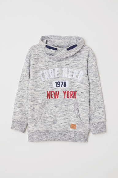 Funnel-collar sweatshirt - Light grey marl - Kids | H&M