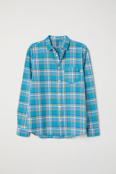 Checked flannel shirt - Turquoise/Yellow - Men | H&M