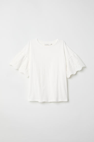 T-shirt with flounced sleeves - White - Ladies | H&M CN
