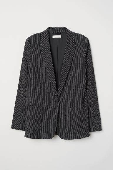 Textured-weave jacket - Black/Striped - Ladies | H&M