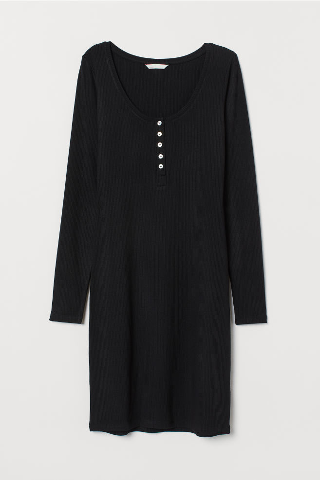 b11ce351228 ... Viscose Jersey Dress - Black - Ladies