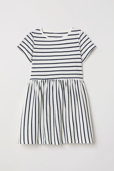 Short-sleeved jersey dress - White/Striped -  | H&M