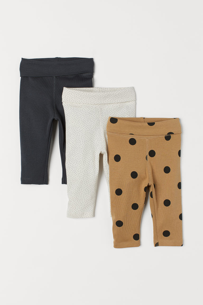 3-pack jersey trousers - Dark beige/Spotted - Kids | H&M GB