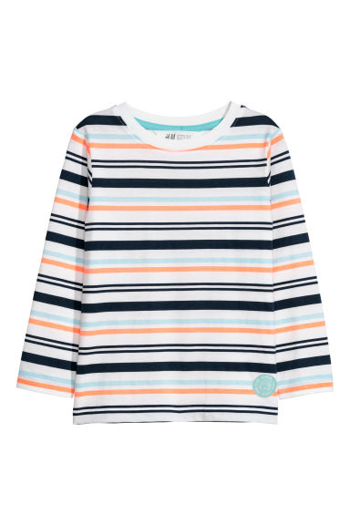 Long-sleeved jersey top - Light turquoise/Striped -  | H&M