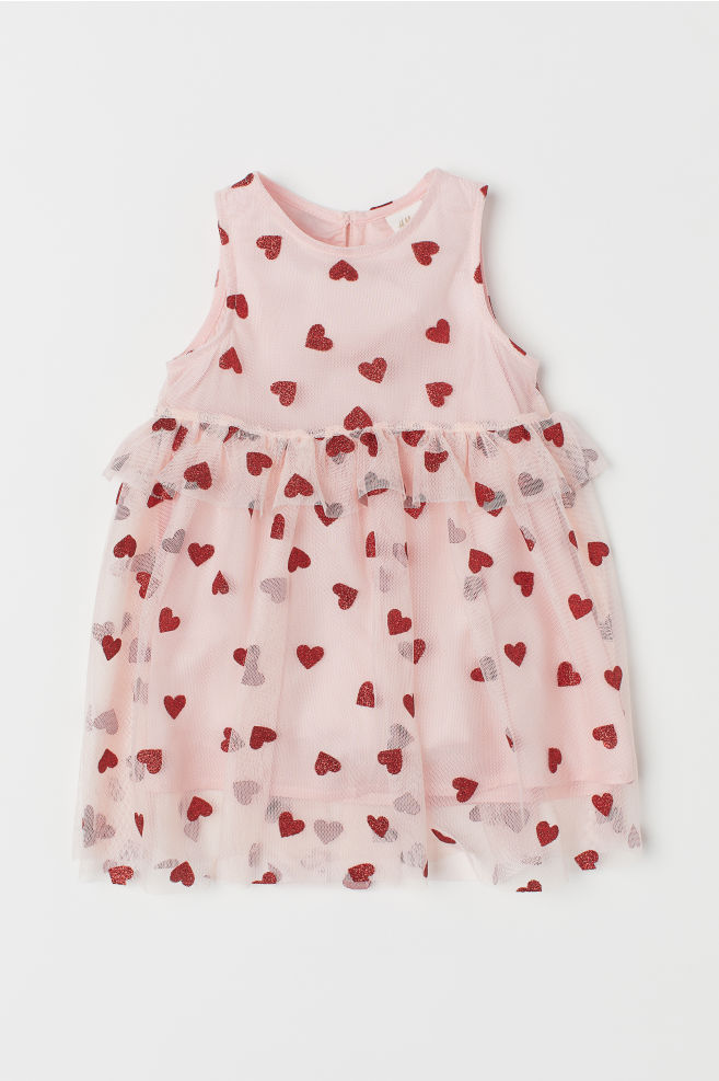 737c4928bdee Tulle Dress with Glitter Print - Light pink/hearts - Kids | H&M ...