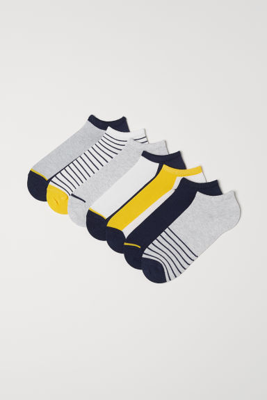 7-pack Ankle Socks - Gray/dark blue striped - Men | H&M US