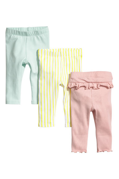 3-pack jersey leggings - Powder pink/Striped - Kids | H&M