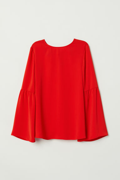 Trumpet-sleeved blouse - Bright red - Ladies | H&M CN