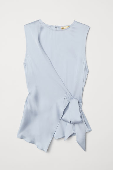 Tie-hem satin top - Light blue - Ladies | H&M