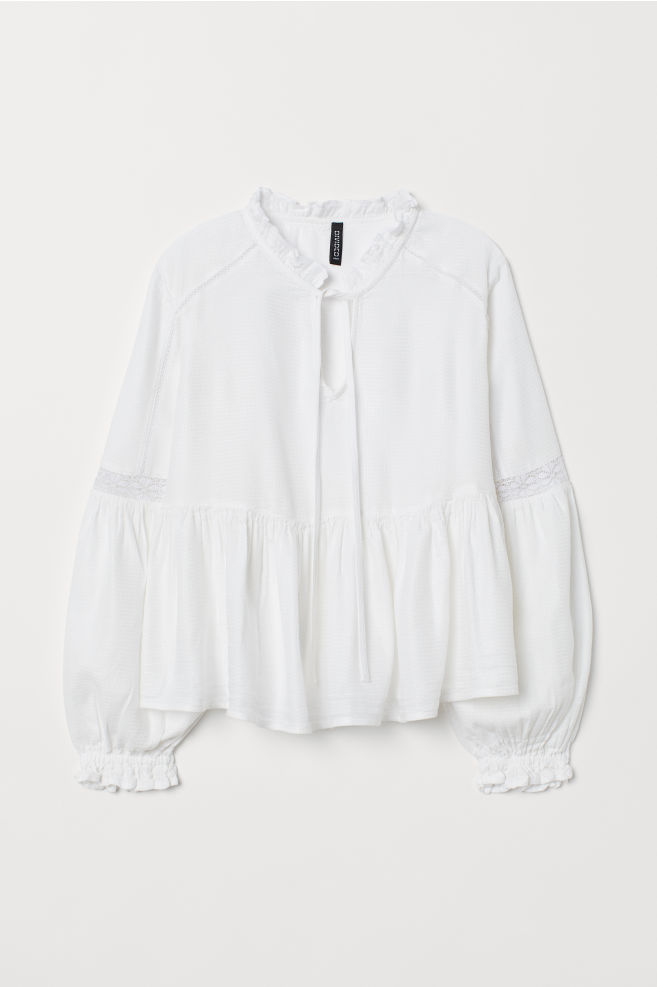 Blouse with Lace - White - Ladies | H&M US 1