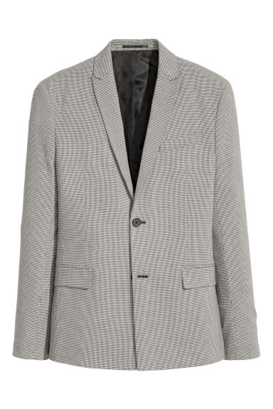 Jacket Slim fit - Black/Dogtooth - Men | H&M