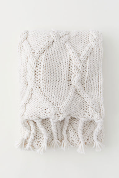 Textured-knit blanket - White - Home All | H&M GB