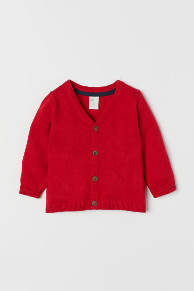 Fine-knit cotton cardigan - Red - Kids | H&M CN