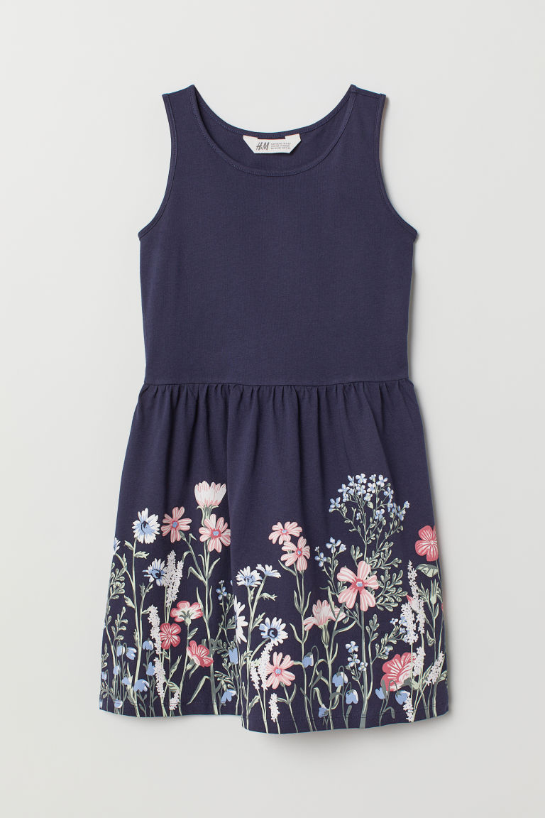 Patterned jersey dress - Dark blue/Flowers - Kids | H&M