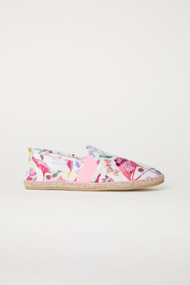 Sequined espadrilles - Natural white/Flamingos -  | H&M