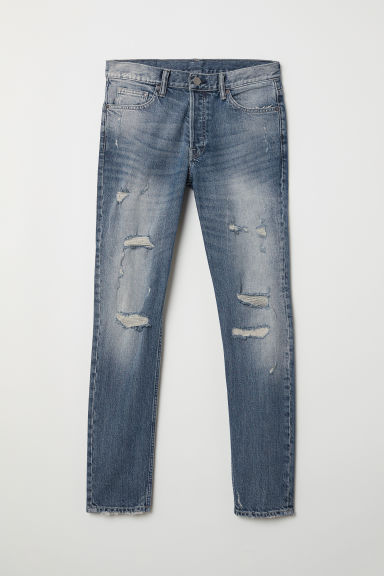 Slim Jeans - Dark denim blue/Trashed - Men | H&M