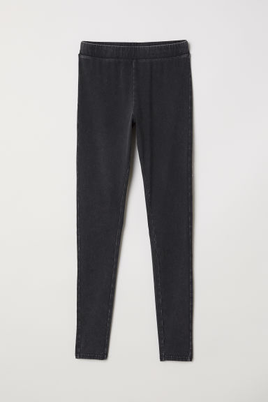 Jersey leggings - Black washed out -  | H&M