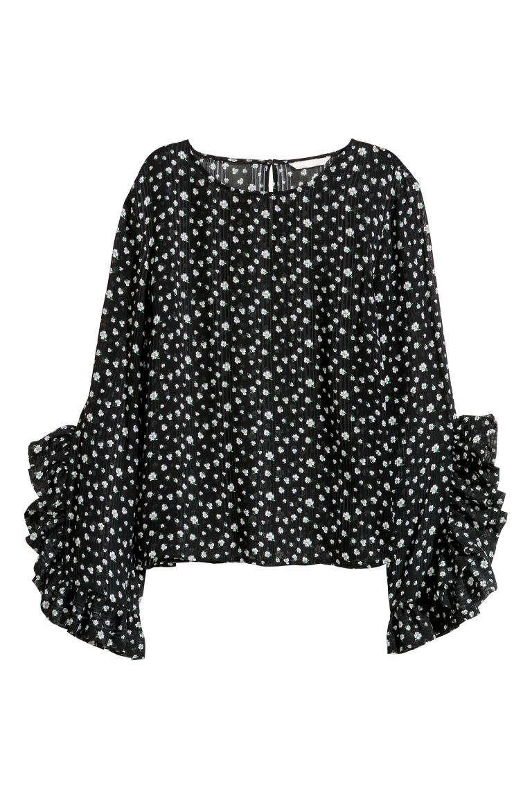 Blouse - Black/Patterned - Ladies | H&M CN