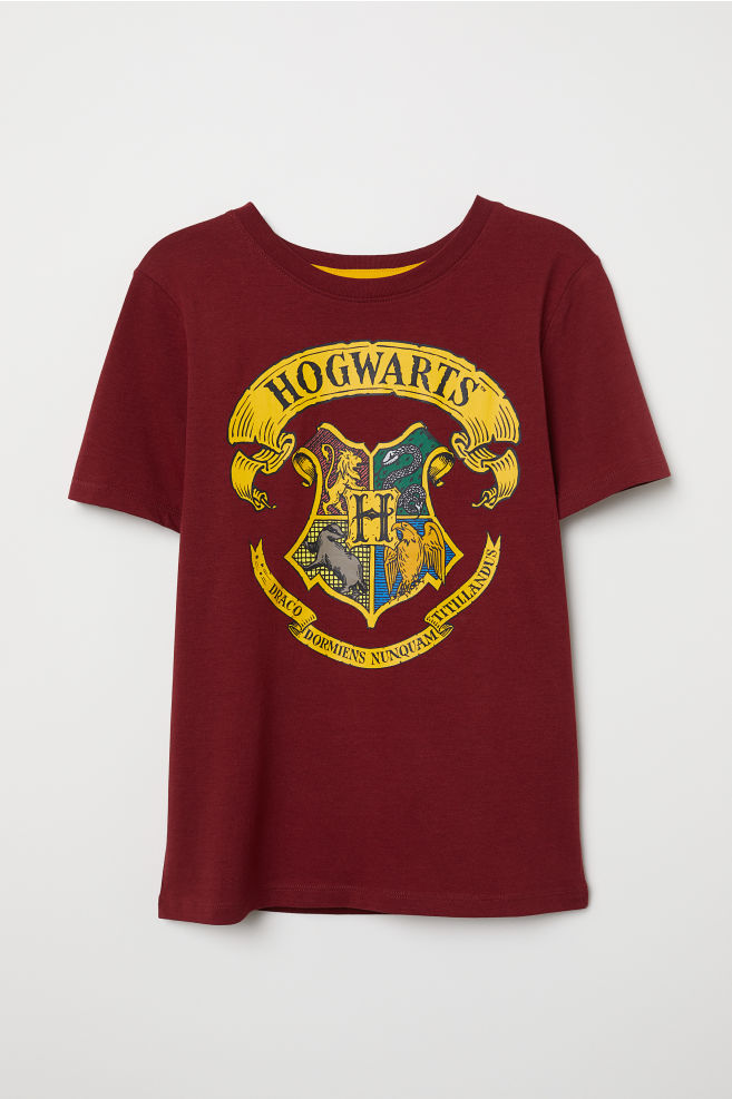 T Shirt With Printed Design Burgundy Harry Potter Kids H M Us