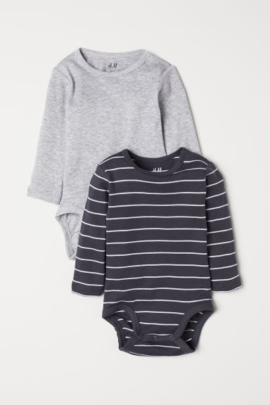 2-pack long-sleeved bodysuits - Grey/Striped - Kids | H&M CN