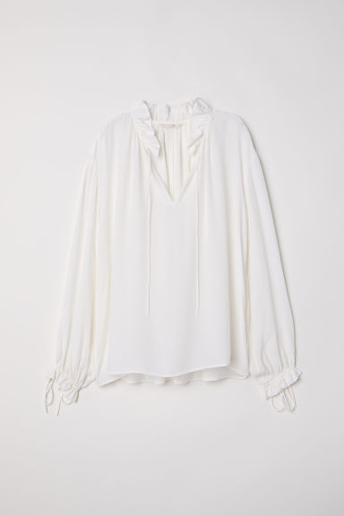Wide blouse - White -  | H&M CN