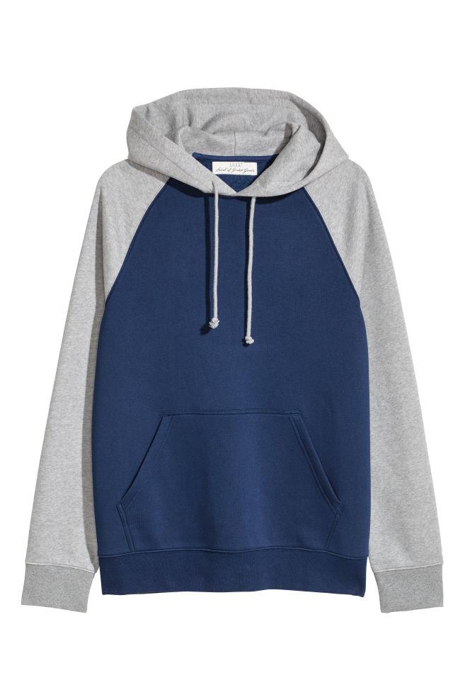 8bc0d3aa Color-block Hooded Sweatshirt - Dark blue/gray melange - Men | H&M US
