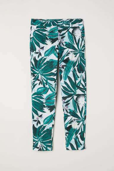 Patterned cigarette trousers - White/Patterned - Ladies | H&M CN