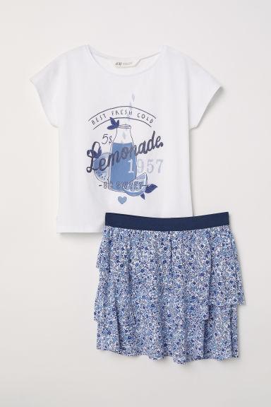 Top and skirt - White/Blue floral - Kids | H&M CN