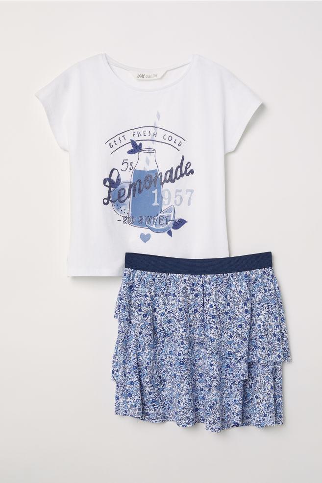 74ed793395c4 Tričko a sukňa - biela modrá kvetovaná - DETI