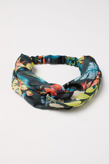 Hairband with a knot-detail - Dark green/Floral -  | H&M CN