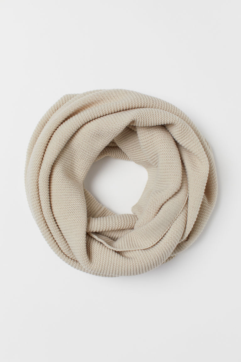 Knitted tube scarf - Light beige - Ladies | H&M