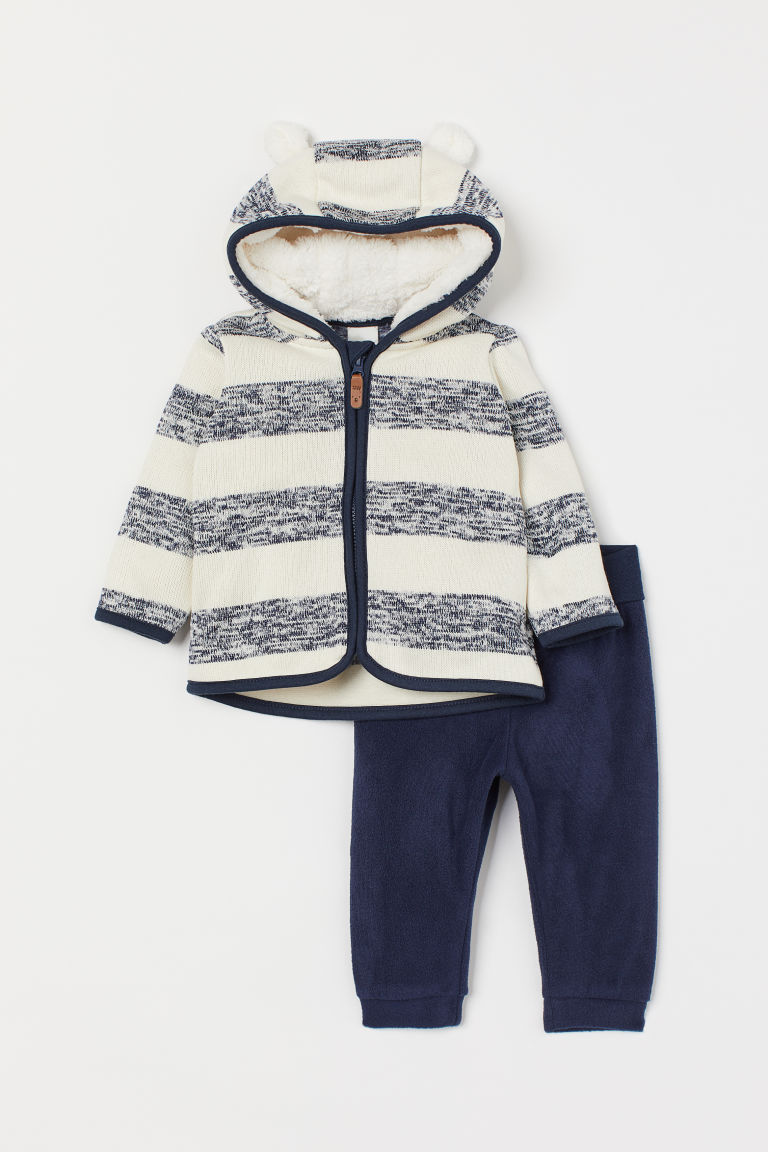Jacket and trousers - Natural white/Blue striped - Kids | H&M GB