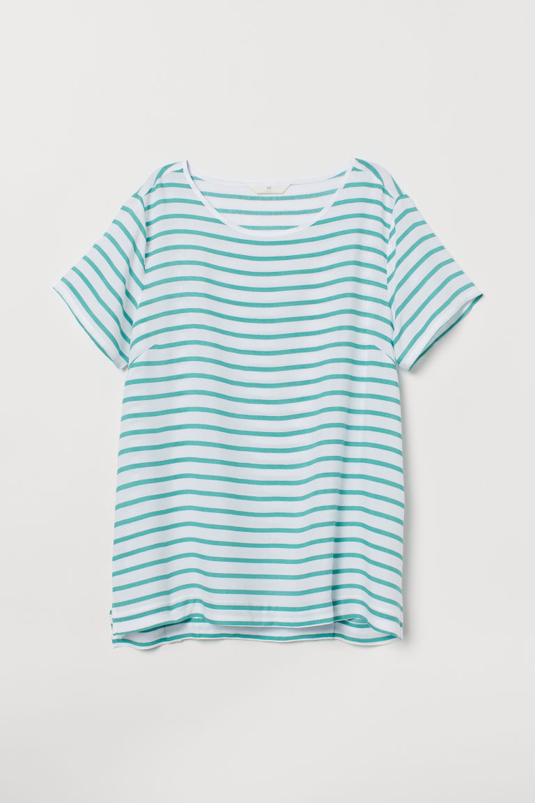 Top a maniche corte - Bianco/verde righe - DONNA | H&M IT