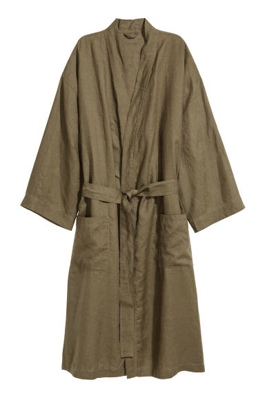 Washed linen dressing gown - Dark khaki green - Home All | H&M GB