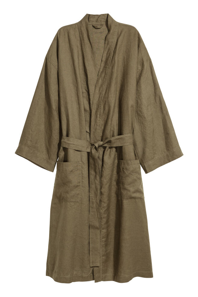 8866221b2d Washed linen dressing gown - Dark khaki green - Home All