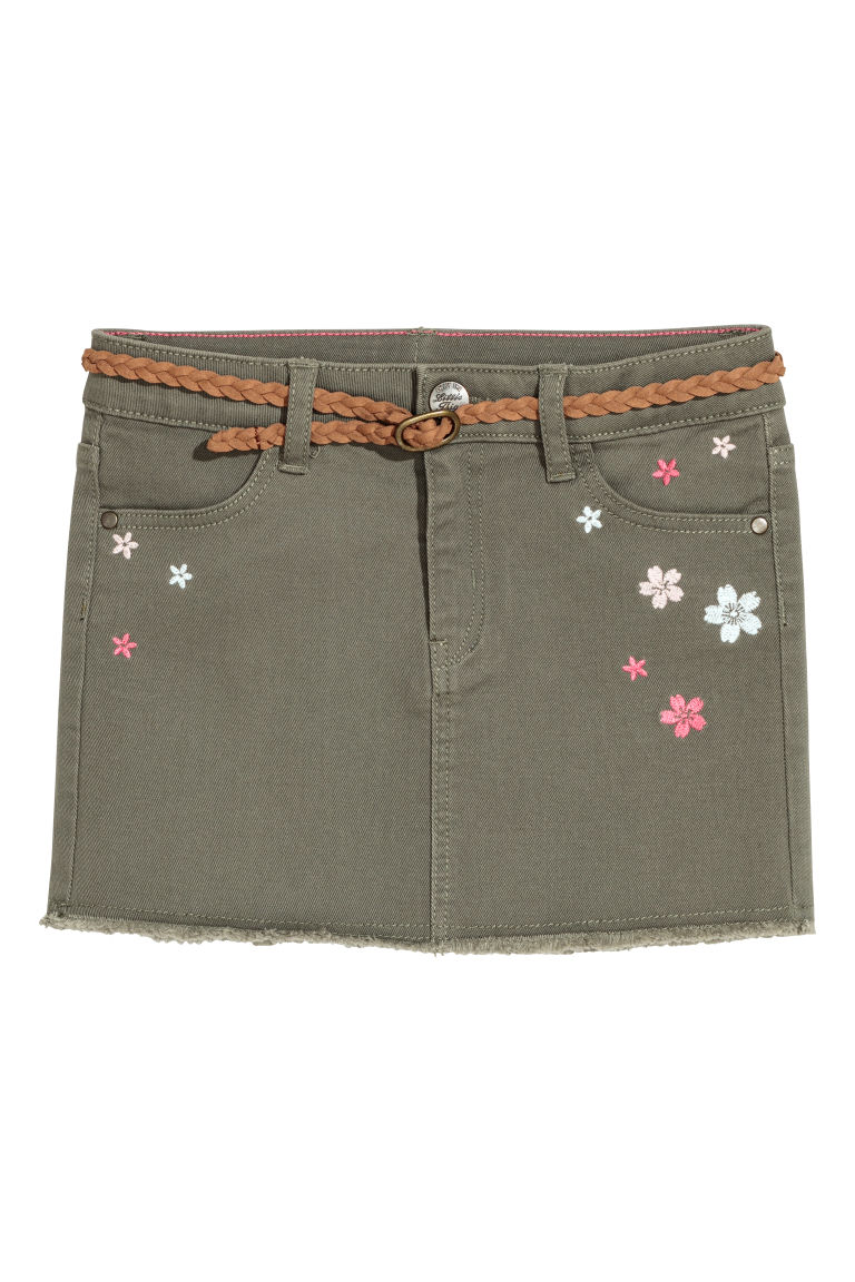 Twill skirt with embroidery - Khaki green/Flowers - Kids | H&M