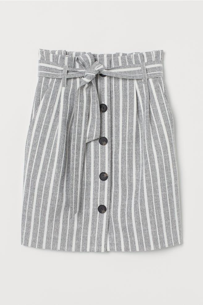 450b0c302 ... Paper-bag Skirt - Gray/white striped - Ladies | H&M ...